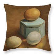 Eggs And Rustic Box Throw Pillow