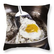 Eggs Cooked With Bacon Grease In Pan  Throw Pillow