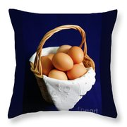 Eggs In A Wicker Basket. Throw Pillow