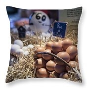 Eggsactly What You Are Looking For - La Bouqueria - Barcelona Spain Throw Pillow
