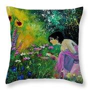 Eglantine With Flowers Throw Pillow