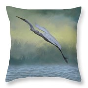 Egret Art I With Foreground Fog  Throw Pillow