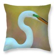 Egret Curves Throw Pillow