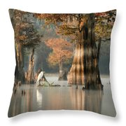 Egret Enjoying Foggy Morning In Atchafalaya Throw Pillow