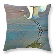 Egret Getting Ready For Take Off Throw Pillow