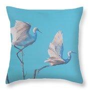 Egret Glide Throw Pillow