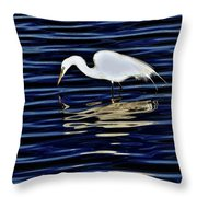 Egret In Blue Throw Pillow