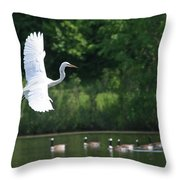 Egret In Flight With Geese Throw Pillow