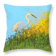 Egret In The Lake Shallows Throw Pillow