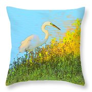 Egret In The Lake Shallows Throw Pillow