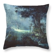 Egret In The Shadows Throw Pillow