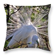 Egret In The Thicket Throw Pillow