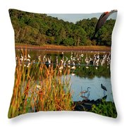 Egret Lake Throw Pillow