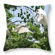 Egret Misunderstanding Throw Pillow