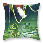 Egret On A Rope Throw Pillow