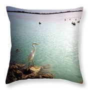 Egret On Marathon Key Throw Pillow
