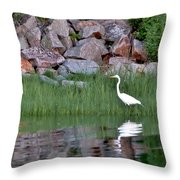 Egret On The Danvers River Throw Pillow