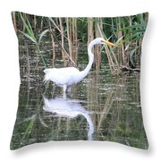 Egret On The Hunt Throw Pillow