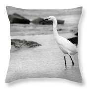 Egret Patrolling In Black And White Throw Pillow