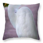 Egret Profile Throw Pillow