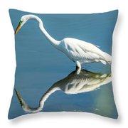 Egret Reflecting Throw Pillow