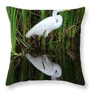 Egret Reflection Throw Pillow