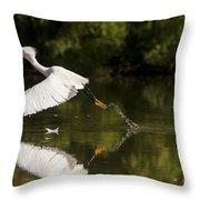 Egret Splash Throw Pillow