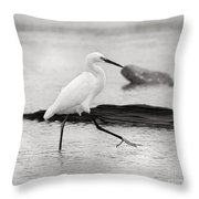 Egret Step In Black And White Throw Pillow