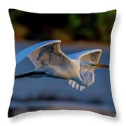 Egret Sunset Throw Pillow