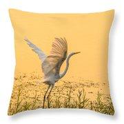 Egret Take Off 1 Throw Pillow