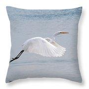 Egret Taking Off 1 Throw Pillow