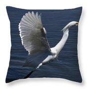 Egret Taking Off Throw Pillow