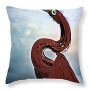 Egret Under Stormy Skies Throw Pillow