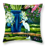 Egret Visits Goldfish Pond Throw Pillow