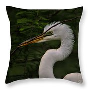 Egret With Branch Throw Pillow
