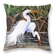 Egrets And Mangroves Throw Pillow