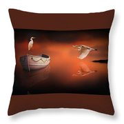 Egrets Boat Throw Pillow