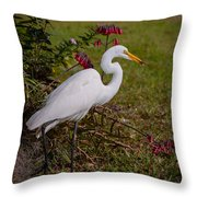 Egret's Meal Throw Pillow