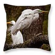 Egrets On A Branch Throw Pillow