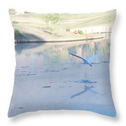 Egrets Reflection Throw Pillow