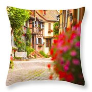 Half-timbered House, Eguisheim, Alsace, France  Throw Pillow