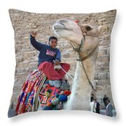 Egypt - Boy With A Camel Throw Pillow