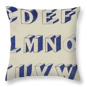 Egyptian For Carving Vintage Blue Font Design Throw Pillow