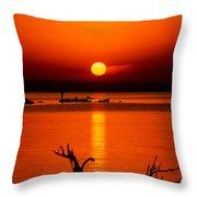 Egyptian Sunrise On Lake Nasser Throw Pillow