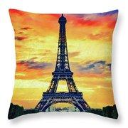 Eifel Tower In Paris Throw Pillow