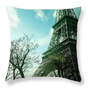 Eifell Tower View From Taxi II. Throw Pillow
