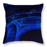Eiffel Blue Throw Pillow