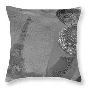 Eiffel Shades Of Grey Throw Pillow