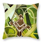 Eiffel Tower And Jardin Du Champ De Mars Throw Pillow
