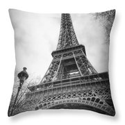 Eiffel Tower And Lamp Post Bw Throw Pillow